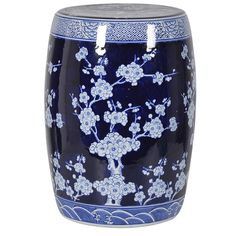 Oriental Flowers Ceramic Stool in Blue Ceramic Stool, Oriental Flowers, Adirondack Chairs For Sale, Wrought Iron Patio Chairs, Farmhouse Dining Chairs, Industrial Chair, Oriental Fashion, Oriental Style, Wedding Chairs