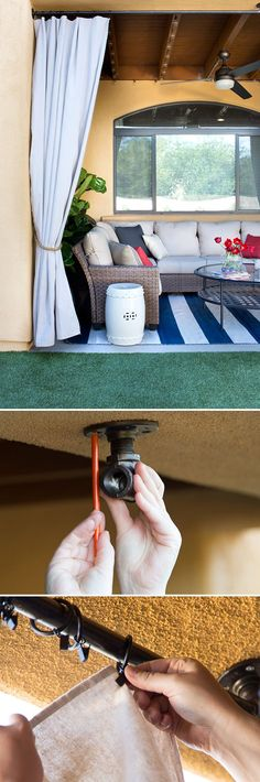 Add privacy and appeal to your patio  with drop-cloth curtains and plumbing-pipe curtain rods. Click to visit The Home Depot blog for step-by-step instructions by Caitlin Ketcham of Desert Domicile. || @desertdomicile