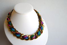 Neon Retro Rope Necklace with Vintage Chain  Spring by SPARKLEFARM, $39.00