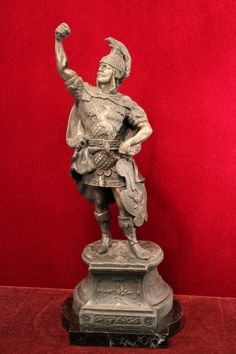 Bronze+Roman+Solider+Statue+on+Marble+Base+Tall