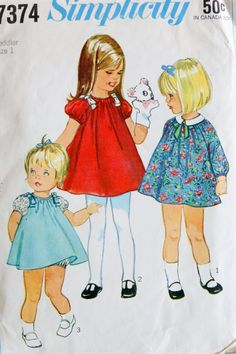Size 1: Vintage Simplicity 7374 Toddler's Dress with by Petitpoesy