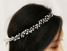Bohemian Bridal Freshwater Pearl Hair Vine, Halo Headpiece, Crown Accessory on Etsy, £61.76