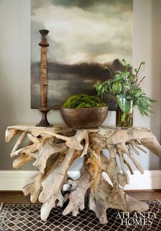 Beautiful tree table and vignette