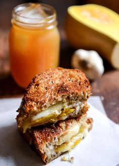 Caramelized Butternut Squash, Roasted Garlic + Coconut Butter Grilled Cheese I howsweeteats.com