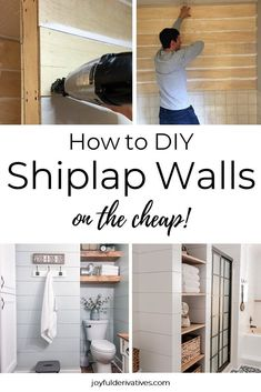 Simple, step-by-step instructions for how to install DIY shiplap in just about any area of your home! Try installing this cheap, farmhouse style faux shiplap made out of plywood strips to add style to the wall in your bathroom, bedroom, or entryway, the area above your fireplace, the back of your kitchen island or bar, or even as wainscoting or a headboard! The options are endless with this affordable method of fixer upper style shiplap. #shiplap #farmhous