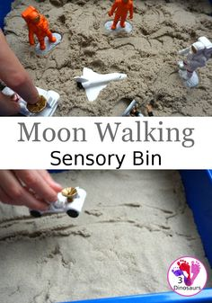 Kinetic Sand Space Moon Walking Sensory Bin - The Best Space Activities Ideas For Kids Space Activities For Kids, Moon Activities, Sensory Activities, Preschool Activities, Sensory Diet, Sensory Play, Sensory Boxes, Sensory Table, Space Theme