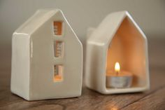 Modern ceramic candle holder love houses by SimoneCeramics on Etsy