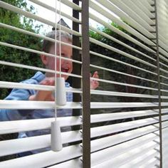 White wooden blinds with brown tapes and Dan the man outside fitted in Leicester Beautiful Blinds, Brown Tape, Blinds For You, Wood Blinds, Leicester, Dan, Living Room, Home Decor, Wooden Shutters