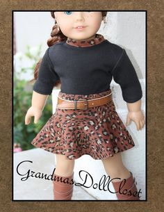 American girl doll clothes, 18 inch doll clothes, AG doll clothes, animal print skater skirt with top and belt