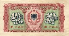 1949 Albania 10 Leke Banknote Agricultural Sector, Market Economy, National Road, Violent Crime, Albania, Stamp, Banknote, Trunk Road, Stamps