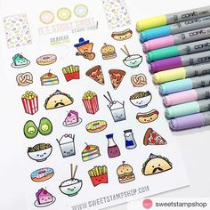 It's a Sticky Food galore! 🍩 loves how these Sticky Swee… It's a Sticky Food galore! 🍩 loves how these Sticky Sweet stickers let her color and blend right on the sticker itself without bleeding. 🍰 Do you like her rainbow cakes and donuts? Kawaii Drawings, Doodle Drawings, Easy Drawings, Doodle Art, Bullet Journal Art, Bullet Journal Ideas Pages, Bullet Journal Inspiration, Sweet Stamp Shop, Kawaii Doodles