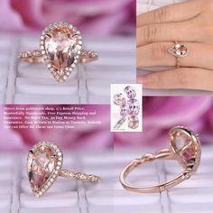 Pear Morganite Engagement Ring Pave Diamond Wedding 14K Rose Gold 8x12mm