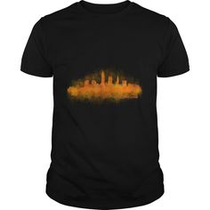 Cleveland Ohio City Skyline in watercolor v3 america patriot USA t shirt