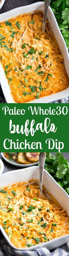 Perfectly creamy and packed with spice and flavor, this buffalo chicken dip is so ridiculously tasty that you'd never guess it's Paleo, Whole30 compliant, dairy-free, and keto friendly!  Use as a dip for veggies, tostones, or as a topping for sweet potato toast or a baked potato to make it a full meal!