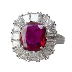 Burma Ruby, Diamond and Platinum Ring | From a unique collection of vintage cocktail rings at…