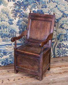 17th century oak box chair, Marhamchurch antiques