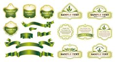 Fresh green label and tag – vector material Eps Vector, Vector File, Vector Icons, Green Label, Computer Vector, Vector Free Download, Green Ribbon, Green Christmas, Retro
