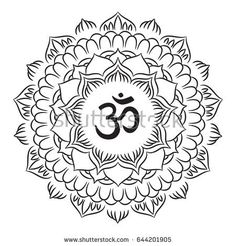 Mandala frame with Om symbol. Hand drawn oriental ornament for greeting card, invitation, coloring book, yoga poster.