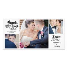 Elengant Wedding Thank You Cards Modern Calligraphy Wedding Thank You Cards Black