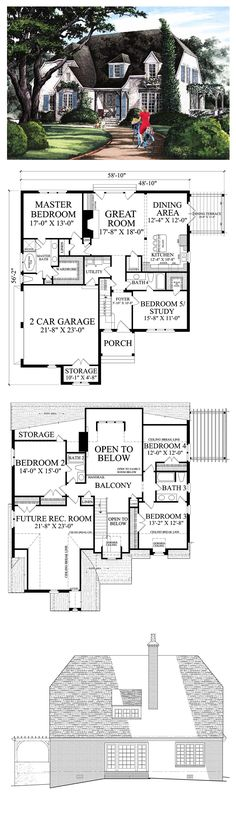Cottage House Plan 86154, Total Living Area: 2673 sq. ft., 5 bedrooms  4 bathrooms.