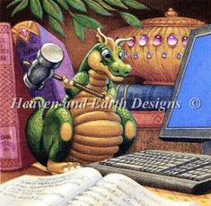 Another HAED must have, this time from Randal Spangler artwork.  I so relate to the dragon, my computers come very close to being hit with a hammer in the past.
