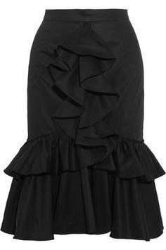 TOME - Ruffled Cotton-twill Skirt - Black - US4