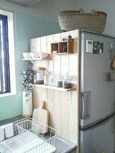 Diy kitchen storage - A good place for keeping the kitchen! I tried to do – Diy kitchen storage Cuisines Diy, Sweet Home, Diy Casa, Diy Kitchen Storage, Small Kitchen Organization, Diy Kitchen Decor, Diy Kitchen Ideas, Diy Storage, Tiny House Storage