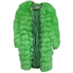 Pre-owned Dior Feather Coat ($725) ❤ liked on Polyvore featuring outerwear, coats, jackets, fur, green, women clothing coats, green fur coat, green coats, christian dior coat and christian dior
