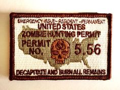 Small Multica Tactical Zombie Hunting Permit Velcro Morale Patch  Need the government to know why you are toting around your arsonal with you? Here's the permit that fits your needs! (note: I wouldn't actually try to explain why you have a ton of guns with this permit...) SMALL PATCH - 3inch x 2 Inch