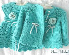 Crochet Baby Dress Pattern, Crochet Baby Cardigan, Knit Baby Sweaters, Newborn Crochet, Knit Crochet, Knitted Baby, Baby Girl Patterns, Baby Knitting Patterns, Bernat Baby Sport Yarn
