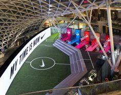 NIKE, Inc. - My Time is Now Comes to Life at the Nike Football Stadium in Poland Football Stadiums, Nike Football, Football Gear, Soccer Sports, Sports Shoes, Stage Design, Event Design, Football Design, Sports Brands
