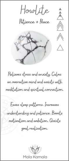 Pin To Save, Tap To Shop The Gem. What is the meaning and crystal and chakra healing properties of howlite? A stone for patience and peace. Mala Kamala Mala Beads - Malas, Mala Beads, Mala Bracelets, Tiny Intentions, Baby Necklaces, Yoga Jewelry, Meditati