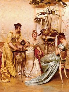 """The Tea Party"" by Frederic Soulacroix (1858-1933)"