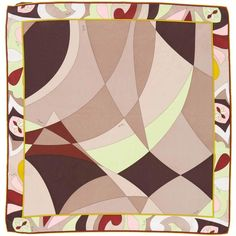Pre-owned Emilio Pucci Silk Scarf ($50) ❤ liked on Polyvore featuring accessories, scarves, brown, emilio pucci scarves, silk scarves, colorful shawl, pure silk scarves and silk shawl