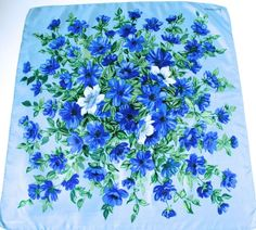 Jacqmar LARGE vintage silk scarf - Blue 50s floral print    £30.00 (1B)