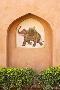 Copyright: © 2013 Jeremy Villasis. All Rights Reserved.    Project 365/7. Elephant-adorned wall at an Oberoi Rajvilas' courtyard wall. The Rajvilas is a luxury hotel in Jaipur that is an exotic destination onto itself.    Goner Road, Jaipur, Rajasthan, I
