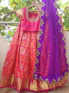 Half Saree Designs, Lehenga Designs, Blouse Designs, Ghagra Choli, Bridal Lehenga Choli, Half Saree Lehenga, Saree Models, Silk Gown, Traditional Sarees