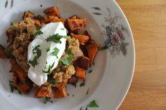 Lentils on Crispy Sweet Potatoes