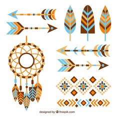 Collection of antique elements in flat design Free Vector Tribal Patterns, Quilt Patterns, Geometric Pattern Design, Design Plano, Fox Party, Baby Posters, Arts And Crafts, Paper Crafts, Flat Design