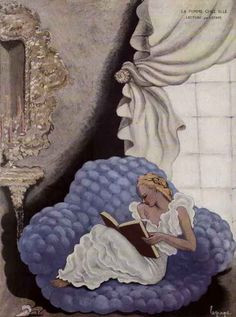 """""""La Femme Chez Elle Lecture (1920). Georges Lepape (French, Art Deco, 1887-1971).    Beginning with the exclusive limited edition album """"Les Choses de Paul Poiret"""", Lepape introduced the ideas of """"motion"""" and """"story"""" to fashion illustration by showing some models actually leaving the viewing frame and by turning their backs to the viewer."""""""