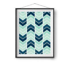 Mint and Navy Printable Art, Chevron Print, Scandinavian Poster, Geometric Print, Nursery Art, Wall Decor, Large Wall Art, Print Avenue Art