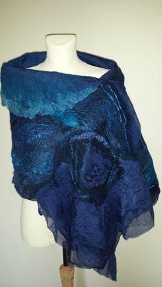#Blue nuno felted scarf