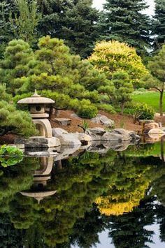 jardin botanique lac asiatique japonais figures de pierre