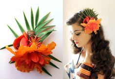 Flower hair clip Tiki Rockabilly and pin-up by OceanfrontBoutique