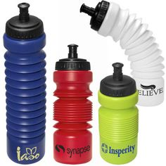 Accordion Water Bottle - available in green, red, blue and white.
