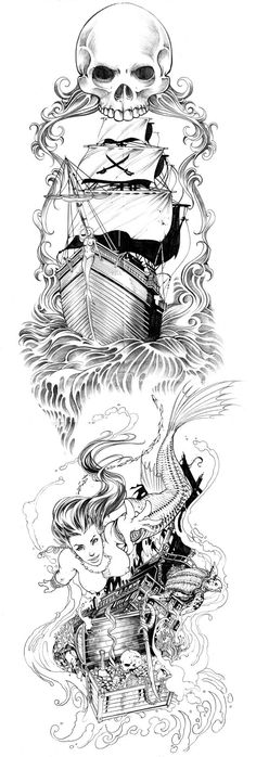 Light fish luring boat Skeleton mermaid waiting in clam shell with octodiver floating around her