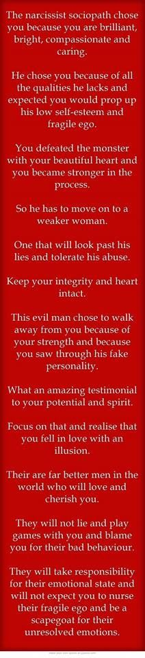 Never again will I suffer at the hands of an abusive narcissistic man, the first time almost cost me my life.  C.B.