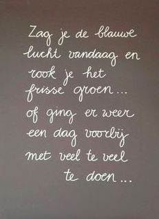 Did you see the blue sky today and smell the fresh green. Of ging er weer een dag voorbij met veel te veel te doen. The Words, More Than Words, Cool Words, Wisdom Quotes, Words Quotes, Me Quotes, Funny Quotes, Memo Boards, Positiv Quotes