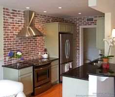 Photo gallery of Real Thin Brick Tiles - Thin brick tile, brick veneer, brick pavers, faux brick Exposed Brick Kitchen, Brick Wall Kitchen, Kitchen Paint, Kitchen Redo, Rustic Kitchen, Kitchen Remodel, Kitchen Ideas, Kitchen Designs, Faux Brick Backsplash