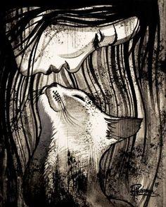 """THE CAT KISS"" Original painting by Raphaël Vavasseur art Original painting: http://ift.tt/1RpReVa Fine art prints: http://ift.tt/2pWrQC0 #CatArt"